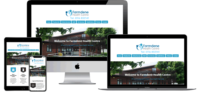 The very popular GP Surgery design 6 in a blue colur theme